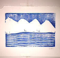 Block print on paper of mountains