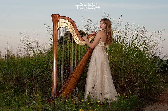 Victoria tori emma parrish north carolina harpist wedding private event party music harp