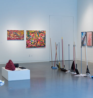 Gallery with paintings and sculptures