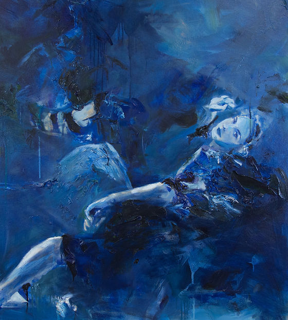 Blue oil painting of reclining woman in many pieces