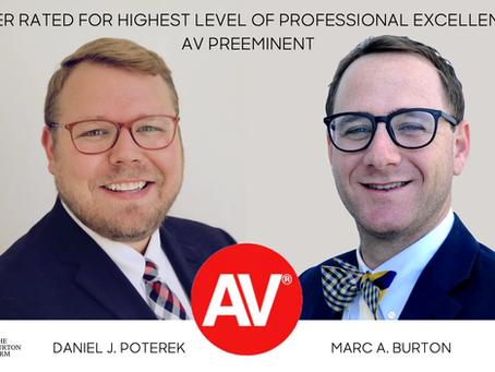 Daniel J. Poterek and Marc A. Burton named AV Preeminent by Martindale-Hubbell