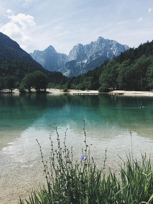 Naturlandschaft mit einem See, Wald und Berge im Hintergrund