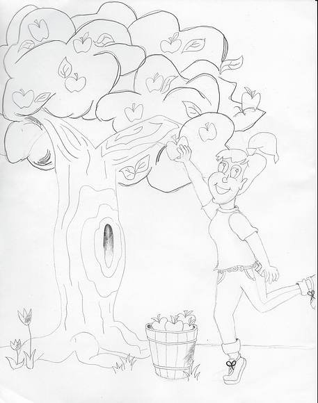 Girl Picking Appls from Tree [Stage 2]