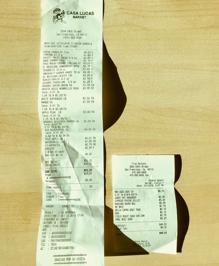 Two receipts from markets nearby Galería de la Raza illustrating how much food $50 can buy at each store.