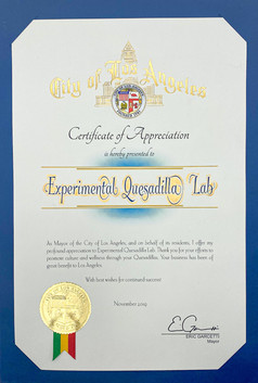 Certificate of Appreciation from City of Los Angeles