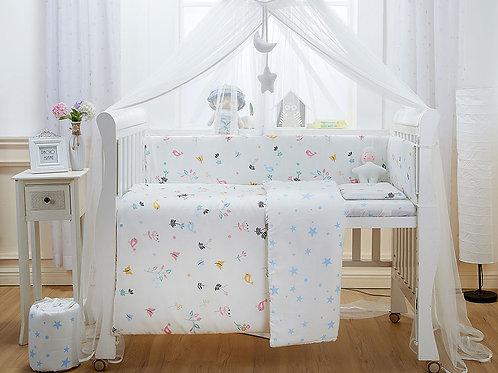 LW1045 嬰兒紗布床品套裝 - 清晨小鳥