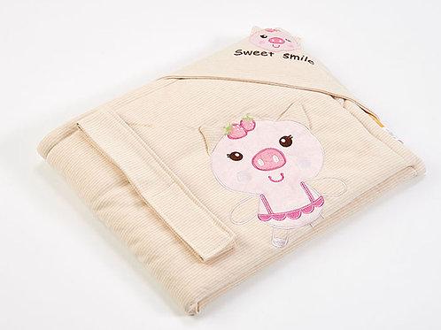 LW1010 嬰兒針織抱被 - 可愛小豬