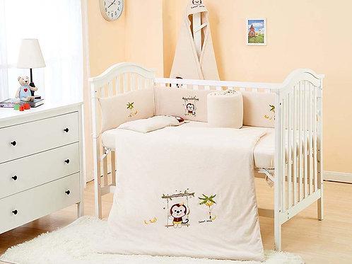 LW1001 嬰兒針織床品套裝 - 活潑小猴