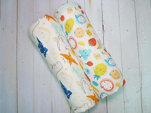 LW1050嬰兒竹纖維雙面紗布被 - 恐龍水果