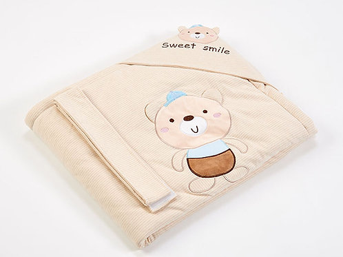 LW1020 嬰兒針織抱被 - 快樂小熊