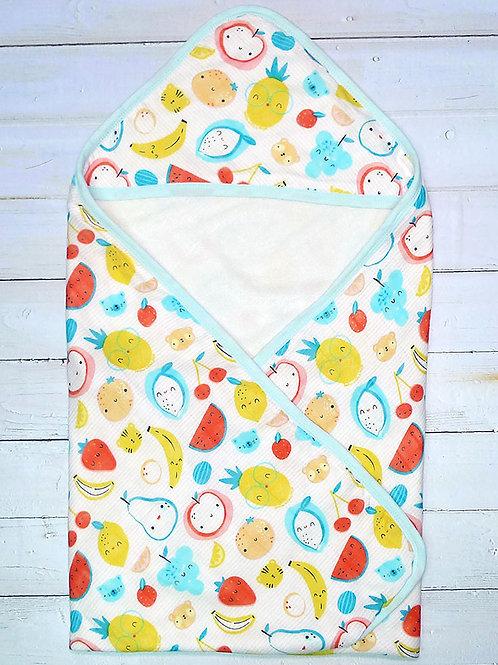 LW1051嬰兒竹纖維紗布毛巾包被 - 恐龍 / 水果