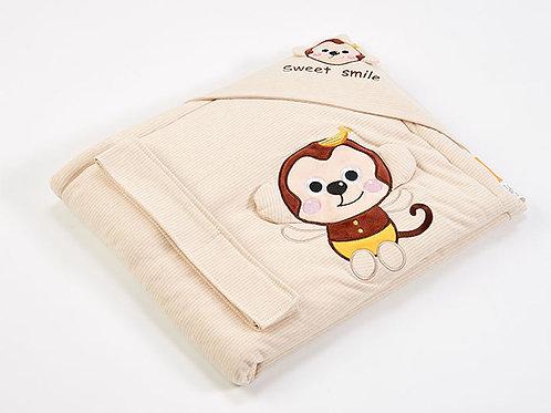 LW1005 嬰兒針織抱被 - 活潑小猴