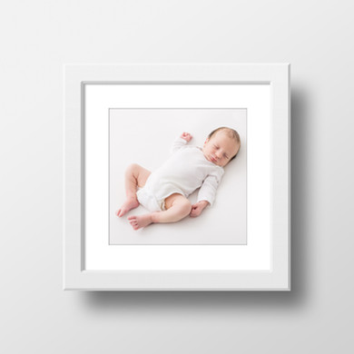 8x8 framed print of baby at their newborn photo shoot - Oh So Peachy Photography
