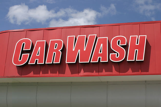 Red car wash sign