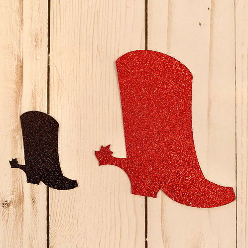 Glitter Cowboy Boot Shapes Pack (Pick Your Color)