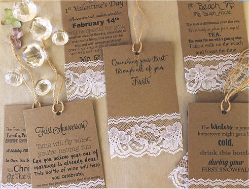 Wedding Milestone Firsts Wine Tags, Shabby Chic Set of Hanging Tags