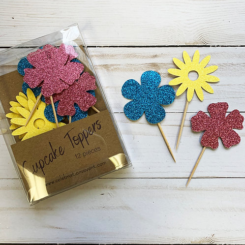 Flower Glitter Cupcake Toppers / Party Picks 12 Pack