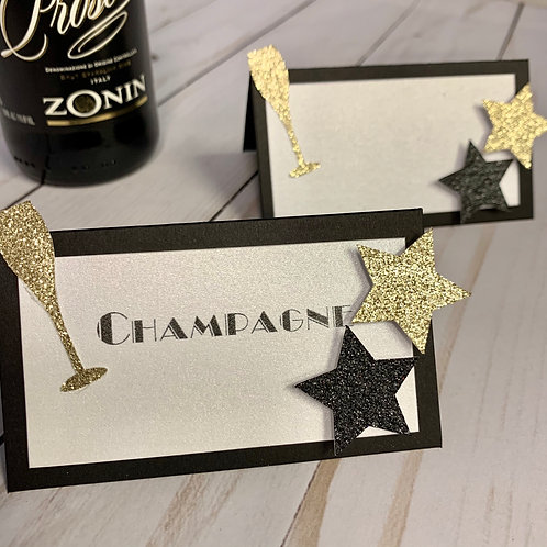 New Years Champagne Glitter Place Cards /Food Tent Cards Deluxe Pack