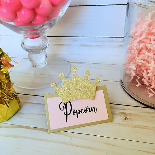 Pink Crown Food Buffet Tent Cards Deluxe Pack