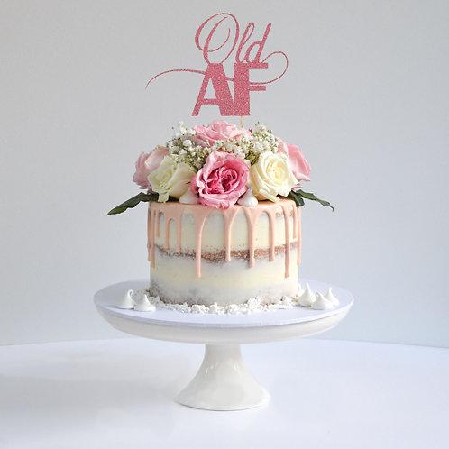 Old AF Glitter Cake Topper (Pick Your Color)