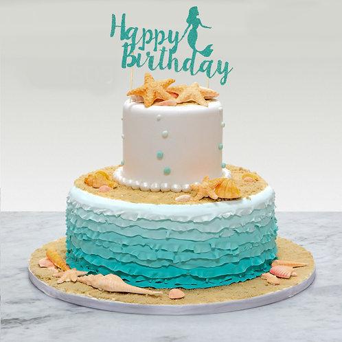 Birthday Glitter Mermaid Cake Topper (Pick Your Color)