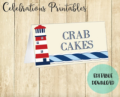 Nautical Buffet Tent Cards Editable Digital Download