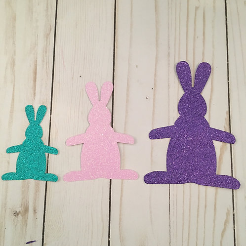 Glitter Bunny Rabbit Shapes Pack (Pick Your Color)