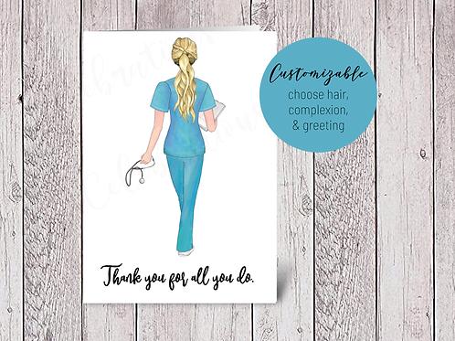 CUSTOM Nurse Thank You Appreciation Card