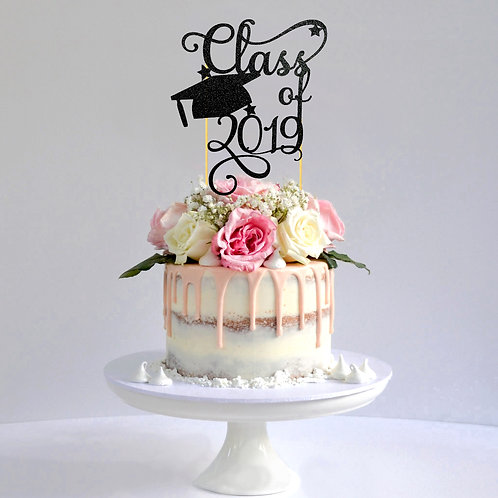 Class of 2019 Glitter Cake Topper (Pick Your Color)