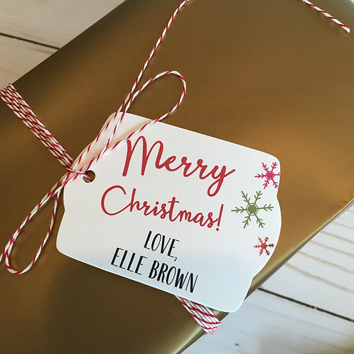 Personalized Christmas Gift Tags & Twine Set of 40