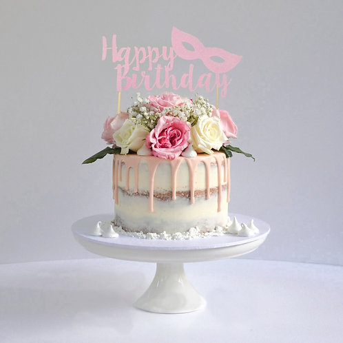 Happy Birthday Masquerade Cake Topper (Pick Your Color)