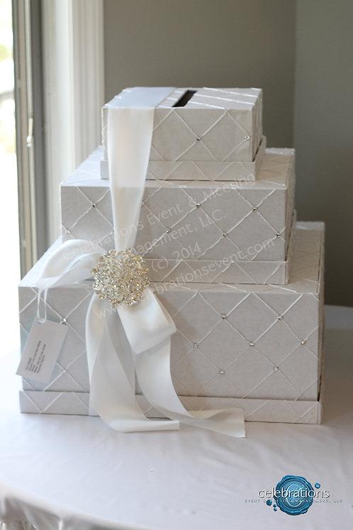 Stacked Embellished White Envelope Box