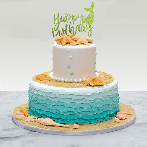 Birthday Glitter Mermaid Tail Cake Topper (Pick Your Color)