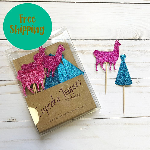 Llama Party Animal Glitter Cupcake Toppers / Party Picks 12 Pack