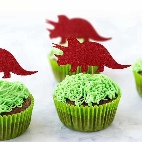 Glitter Triceratops Dinosaur Shapes Pack (Pick Your Color)