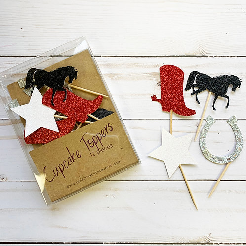 Cowboy Glitter Cupcake Toppers / Party Picks 12 Pack