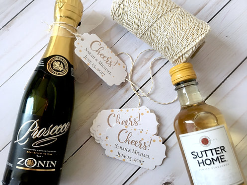 Cheers! Personalized Wedding Favor Tags with Twine