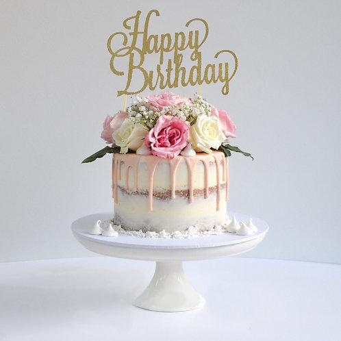 Happy Birthday Glitter Cake Topper (Pick Your Color)