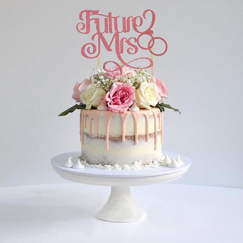 Future Mrs Glitter Cake Topper (Pick Your Color)