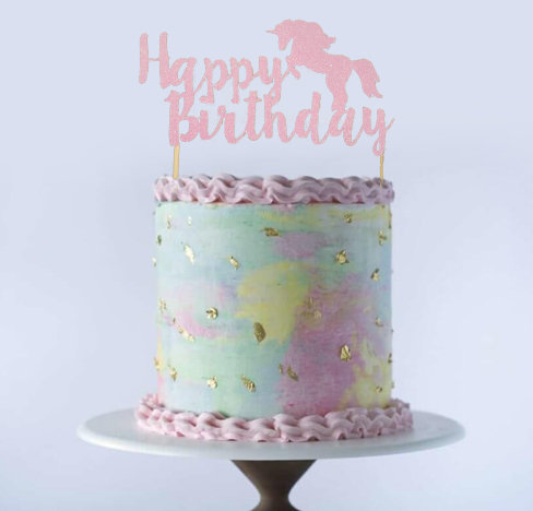 Birthday Glitter Unicorn Cake Topper (Pick Your Color)