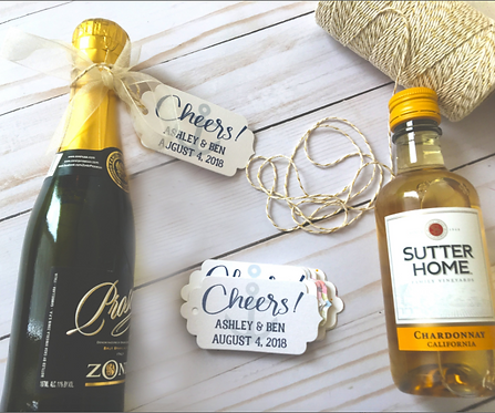 Cheers! Personalized Nautical Wedding Favor Tags with Twine