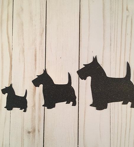 Glitter Scottie Dog Shapes Pack (Pick Your Color)