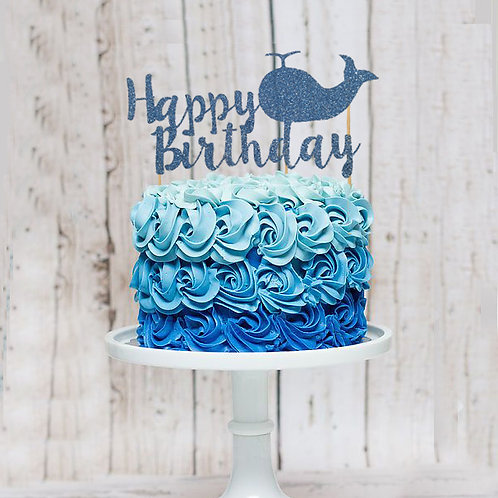 Birthday Glitter Whale Cake Topper (Pick Your Color)