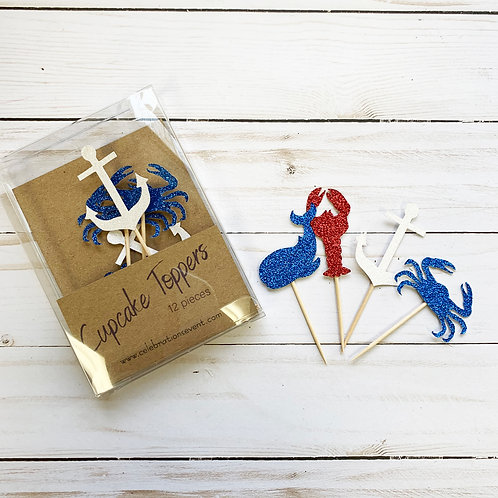 Nautical Glitter Cupcake Toppers / Party Picks 12 Pack