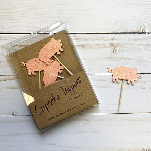 Pig Glitter Cupcake Toppers / Party Picks 12 Pack