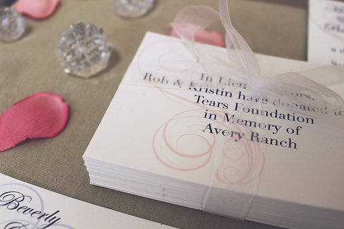 Custom Donation Cards In Lieu of Favors Pack of 50-100