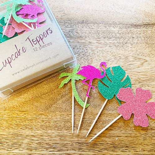 Tropical Glitter Cupcake Toppers / Party Picks 12 Pack