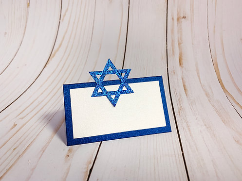 Star of David Hanukkah Glitter Place Cards / Food Tent Cards Deluxe Pack