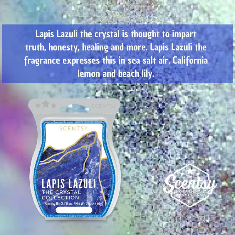 Lapis Lazuli the crystal is thought to impart truth, honesty, healing and more. Lapis Lazuli the fragrance expresses this in sea salt air, California lemon and beach lily.