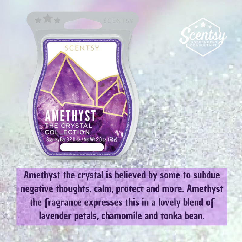 Amethyst the crystal is believed by some to subdue negative thoughts, calm, protect and more. Amethyst the fragrance expresses this in a lovely blend of lavender petals, chamomile and tonka bean.